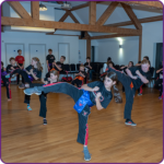 Class demonstrating martial arts.
